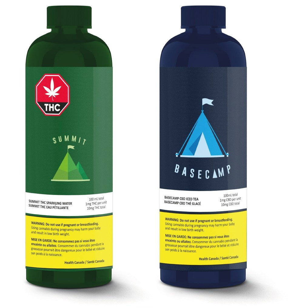 Image 1:  Summit THC Sparkling Water Image 2:  Basecamp CBD Iced Tea (CNW Group/Valens GroWorks Corp.)