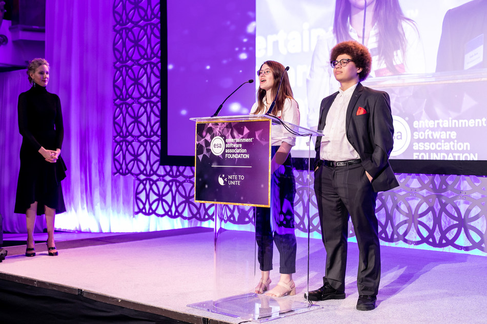 Two-time ESA Foundation Computer and Video Game Arts Scholarship recipients, Atsina Corrington and Isiah Rosa, share their passion for making video games at Nite to Unite (NTU) 2019. NTU is one of several industry events recipients can attend for mentorship and networking opportunities.
