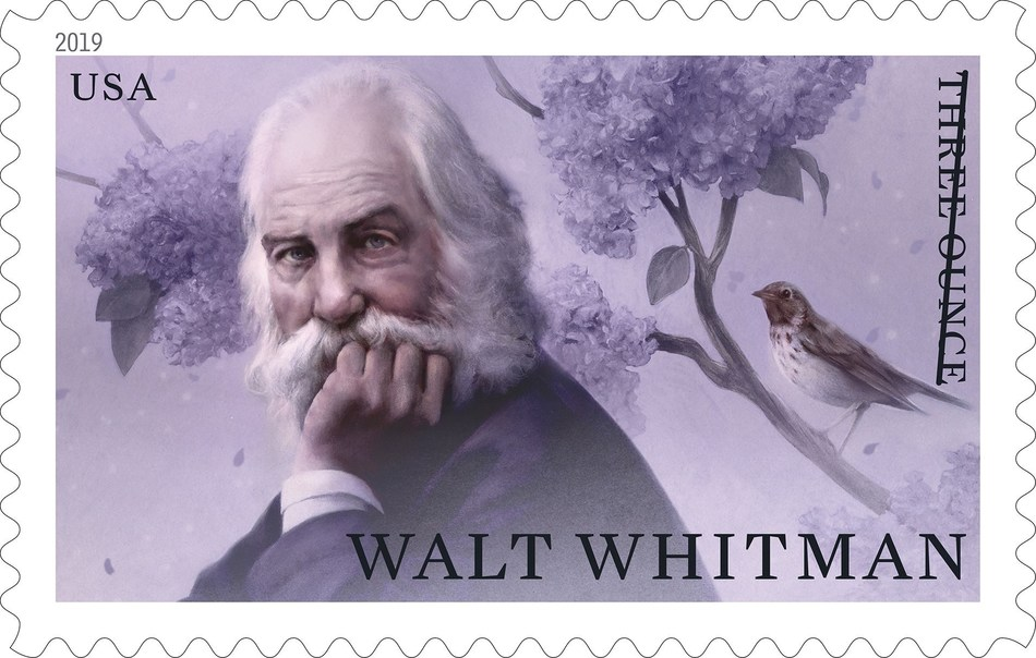 The U.S. Postal Service honors Walt Whitman with a new stamp on sale today nationwide.
