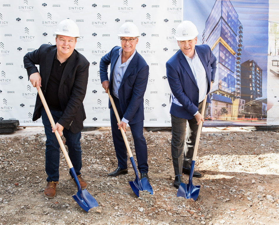 The official groundbreaking ceremony for ENTICY, a unique boutique condo development going up in downtown Montreal, took place today, in the presence of Richard Jutras, Project Director, Omnia Technologies, Jean-François Beaulieu, President, Omnia Technologies, and Denis Houle, Senior Director, Claridge Real Estate (CNW Group/Enticy)