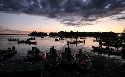 Bassmaster Elite Series anglers await launch on the St. Lawrence River in Waddington, N.Y., which was named the top bass fishing destination in America on Bassmaster Magazine's list of Top 100 Best Bass Lakes.