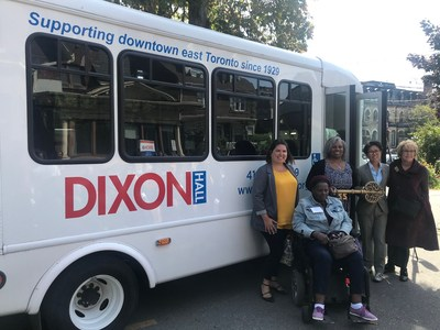MPP Suze Morrison, Dixon Hall CEO Mercedes Watson, City Councillor Kristyn Wong-Tam, Ontario Trillium Foundation Grant Review Team Member Phyllis Tanaka, and a senior in Dixon Hall's Day programs gather in front of the agency's new, accessible bus. The bus was made possible through a $99,500 Capital OTF grant, and will impact thousands of Torontonians annually, providing access to food, recreation and socialization opportunities, and access to community support for seniors in the downtown east. (CNW Group/Dixon Hall Neighbourhood Services)