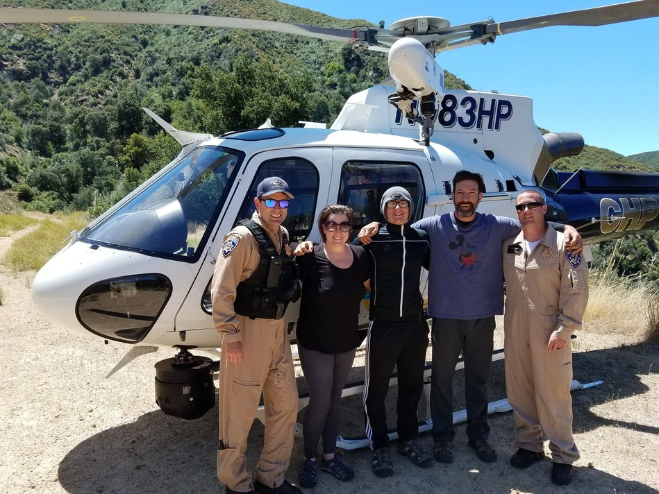 Curtis Whitson family with Helicopter Rescue Crew