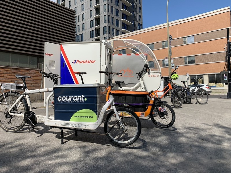 Participating cargo bikes of the eco-friendly urban delivery project Colibri (CNW Group/Ville de Montréal - Arrondissement de Ville-Marie)