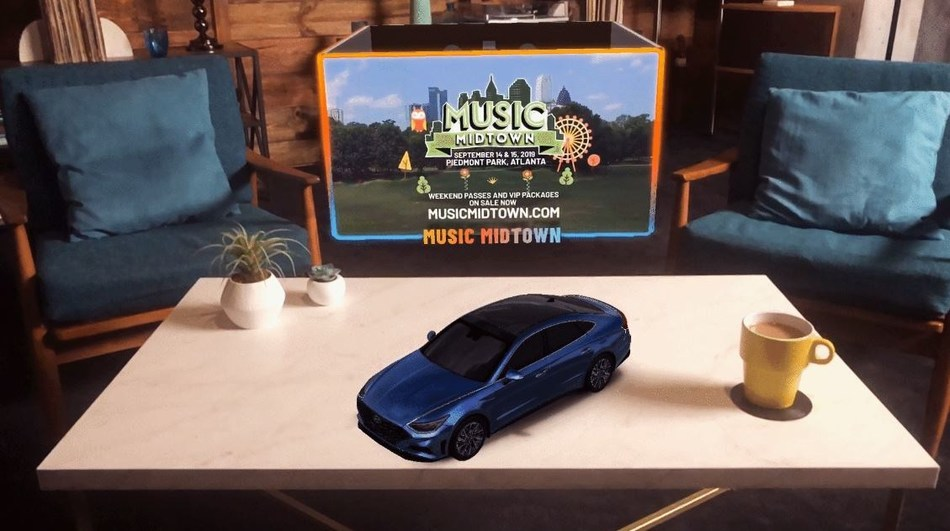 Live Nation's new augmented reality (AR) experiences, which will be integrated into the Midtown Music app, give fans the chance to virtually explore the 2020 Sonata and its premium design and suite of technology features.