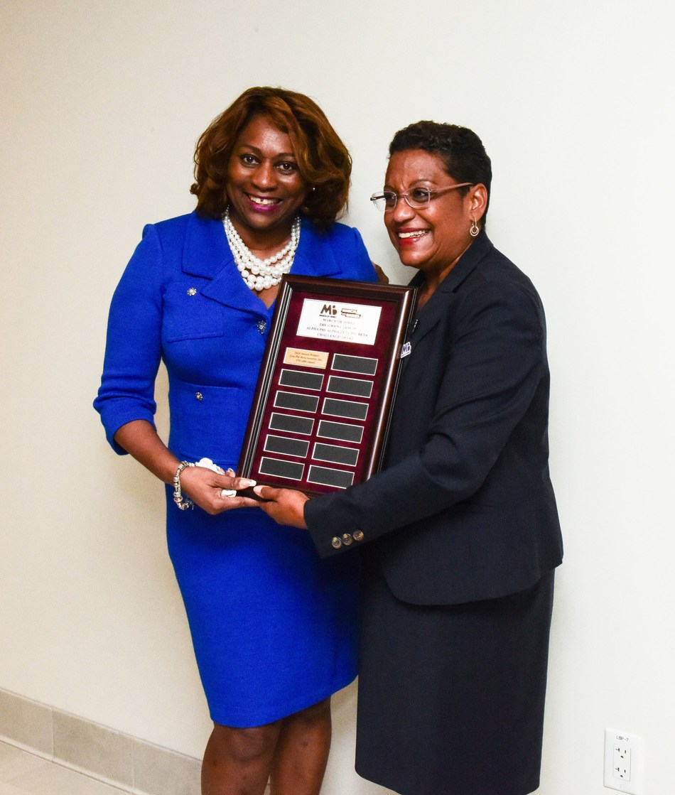 "Valerie Hollingsworth Baker, Zeta international president (left) receives the ""March of Dimes Gwen Carmen Alpha Phi Alpha/Zeta Phi Beta Challenge Award"" from March of Dimes president, Stacey Stewart (right) on Sept. 10 at Zeta headquarters in Washington D.C."
