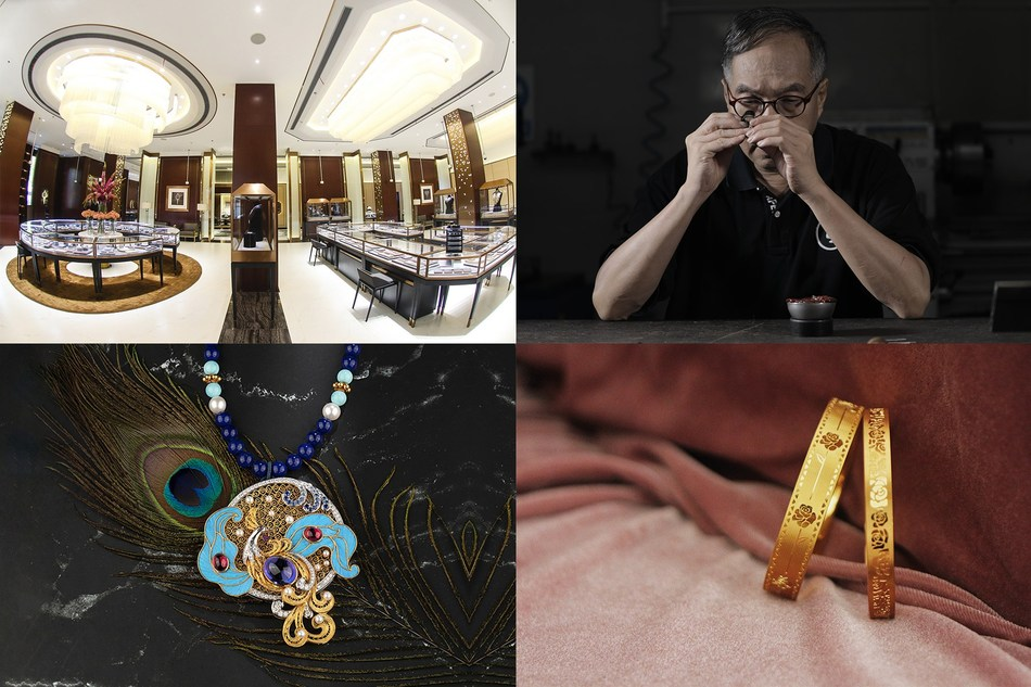 From top left (clockwise) 1. Shanghai Kimberlite flagship store. 2. Principal craftsman from Shenzhen Xingguangda Jewelry at work. 3. Wedding bands from Shenzhen Future Wisdom. 4. BOJEM coloured gemstone jewellery collection