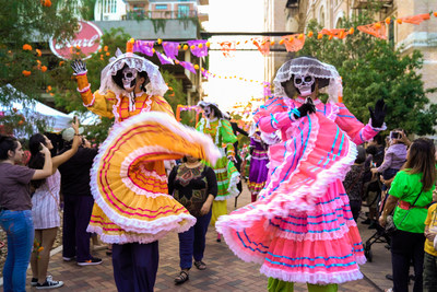 A colorful Dia de Muertos parade at the historic Pearl brewery district. Dozens of events from Oct. 26 to Nov. 3 make San Antonio the largest Day of the Dead celebrations in the U.S.