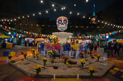 A large community altar at the Dia de Los Muertos festival in San Antonio. This fest, along with dozens more, help make San Antonio home to the largest Day of the Dead celebration in the U.S.