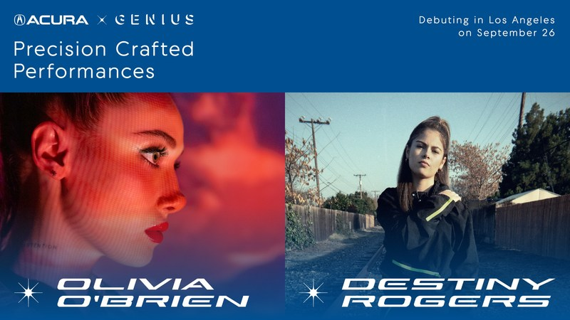 """Acura x Genius: Precision Crafted Performances"" music series kicks off in Los Angeles on Sept. 26 at Mack Sennett Studios with performances by Destiny Rogers and Olivia O'Brien"