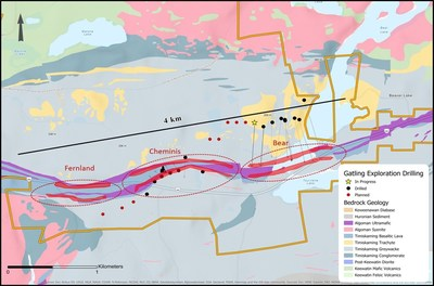 Figure 2. Drill plan map with three main mineralized zones at the Larder Gold Project (CNW Group/Gatling Exploration Inc.)
