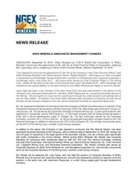 NGEx Minerals Announces Management Changes (CNW Group/NGEx Minerals Ltd.)