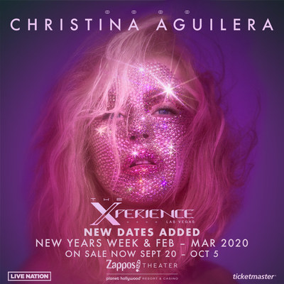 International Superstar Christina Aguilera Announces Ten Additional Dates For Christina Aguilera: The Xperience At Planet Hollywood Resort & Casino