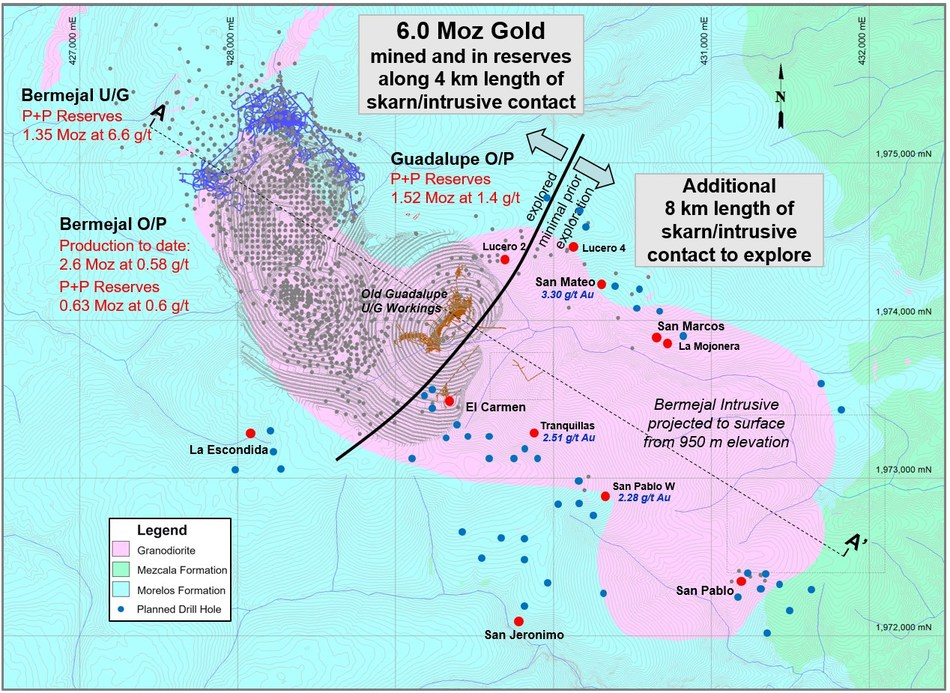 Figure 1: Bermejal Intrusive Multi-Phase Exploration Program (CNW Group/Leagold Mining Corporation)