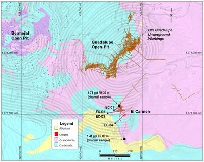 Figure 3: Plan Map of El Carmen Target (CNW Group/Leagold Mining Corporation)