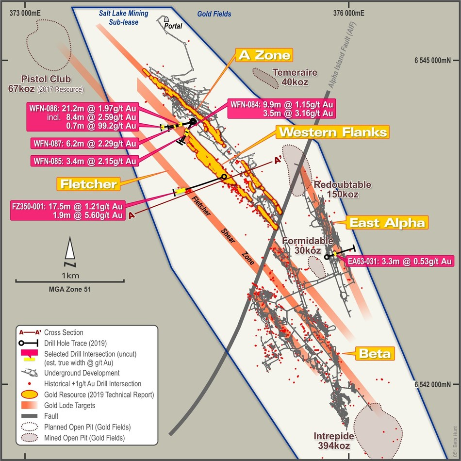 Exploration Drilling (gold) - Figure 1 – Plan View of Beta Hunt Sub-lease showing drill traces and significant assay results from recently completed exploration drilling campaign. All drill intersections are estimated true thicknesses. (CNW Group/RNC Minerals)