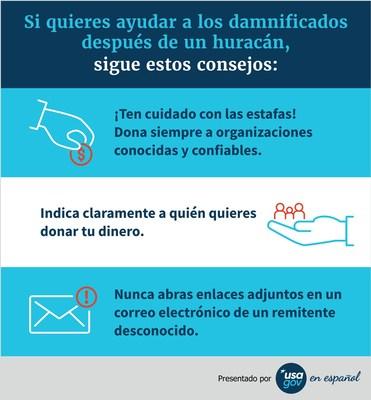 Si quieres ayudar a los damnificados después de un huracán, sigue estos consejos. Presentado por USAGov En Español.