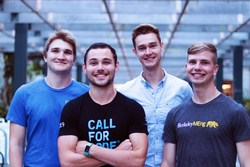 The AsTeR team, (from left) Pierre-Louis Missler, Meryll Dindin, Oskar Radermacker, and Florian Fesch, created an application that uses speech-to-text services and natural language processing to prioritize calls in order of emergency level. The team uses AI to keep track of sentiment and anxiety levels, providing heatmaps so emergency services can see where help is needed most.