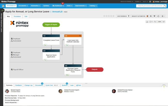 "In Nintex Promapp, a process expert maps a process, then clicks ""Request Automation"" to generate a workflow in Nintex Workflow Cloud. Learn more about process management and automation at Nintex.com."