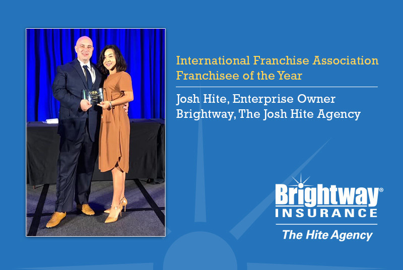 The International Franchise Association recognized Josh Hite (left) Sept. 10, at its Franchise Action Network Annual Meeting in Washington, D.C. Shelly Hite (right) attended the event with her husband.