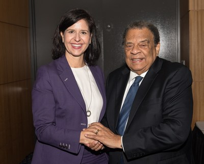 "Jenna Kelly (President, SunTrust Bank Georgia Division), Ambassador Andrew Young: SunTrust Foundations award $3 million to Atlanta Police Foundation to fund ""The SunTrust At-Promise Center Honoring Andrew Young""."
