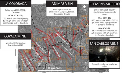 Figure 1: Panuco district with major veins labelled and selected prospect details. (CNW Group/Vizsla Resources Corp.)