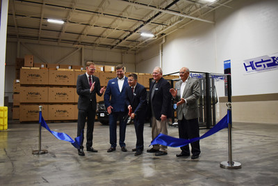Hyperformance Glass Products unveils new aftermarket hybrid windshield featuring Corning Gorilla Glass at their ribbon cutting ceremony. (L to R) Mike Kunigonis, VP/GM of Corning Auto Glass Solutions; William Smith, Owner of PPD/HGP; Rob Brisley, President of PPD/HGP; Perry Giese, Owner of PPD/HGP; Tom Trpevski, Owner of PPD/HGP.