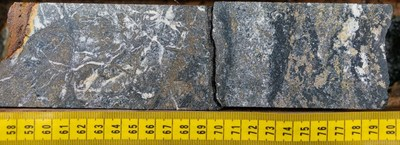 Multiple phases of pyrite with chalcopyrite mineralization. Image starting at 87.58m in NWDDH19-012; the second diamond drill hole at the NW Zone in 2019. Note mineralization is visually high-grade and not representative of the entire hole. (CNW Group/Crystal Lake Mining Corporation)