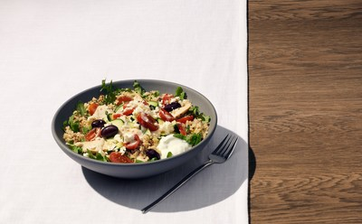 Panera's Mediterranean Grain Bowl: Daringly flavorful toppings like feta and olives paired with a lemon tahini dressing help to elevate grains and vegetables.