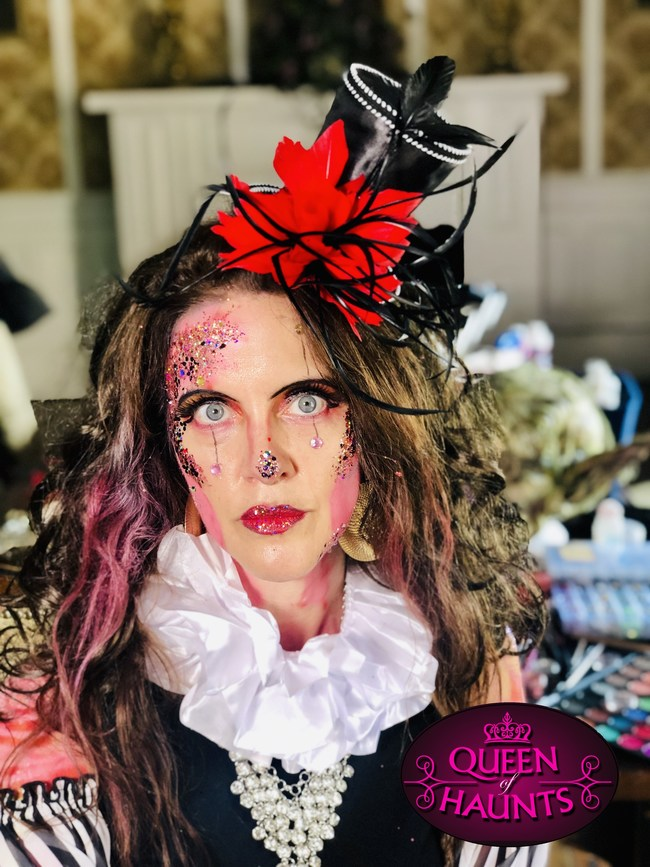 Queen of Haunts, by day Amber Arnett-Bequeaith, presented the TERRORific Haunted Attractions on her 45th seasons