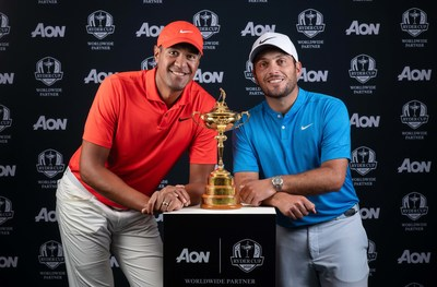 Aon ambassadors Tony Finau (left) and Francesco Molinari (right) at the announcement of Aon's worldwide partnership with The Ryder Cup
