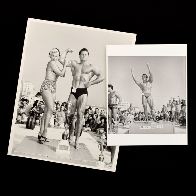 2 Bruce Bellas (1909-1974) photos taken at Muscle Beach in Los Angeles and featuring 'Mr. Muscle Beach 1957.' Provenance: Bruce Bellas archive. Estimate: $400-$600