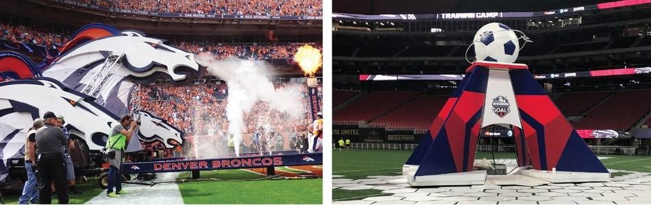 Left: Custom-built entrance tunnel for Denver Broncos home game. (Britten/Activate); Right: Delta sponsored MLS All-Star game activation for D.C. United fans. (Britten/Octagon)