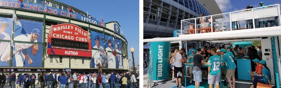 Left: Massive mesh banners build gameday excitement at Wrigley Field.; Right: BoxPop® mobile bar for Miami Dolphins tailgaters. (Britten/Activate)
