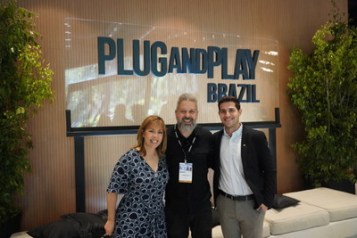Plug and Play opens a new office in São Paulo, Brazil. From left to right: Jackie Hernandez (SVP Global Partnerships, Plug and Play), Rodrigo Duclos (Chief Digital Officer, Claro Brazil), Francisco de Frutos (Director, Food & Agro, Plug and Play Brazil)