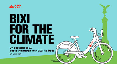 BIXI for climate, on September 27 2019, BIXI bikes are free! (9 am to 3 pm) (CNW Group/BIXI Montréal)