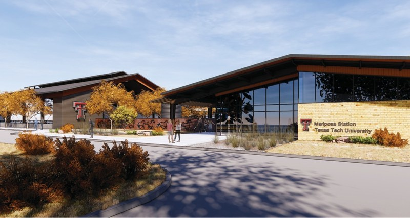 An artist rendering of the School of Veterinary Medicine Mariposa Station, a separate set of facilities that will serve as the large-animal focal point of the school.