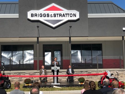 Todd Teske, Chairman, President and CEO of Briggs & Stratton Corporation speaks to Briggs & Stratton employees and leaders from the State of NY, Oneida County and City of Sherrill at the Company's Grand Opening of its new commercial products facility.