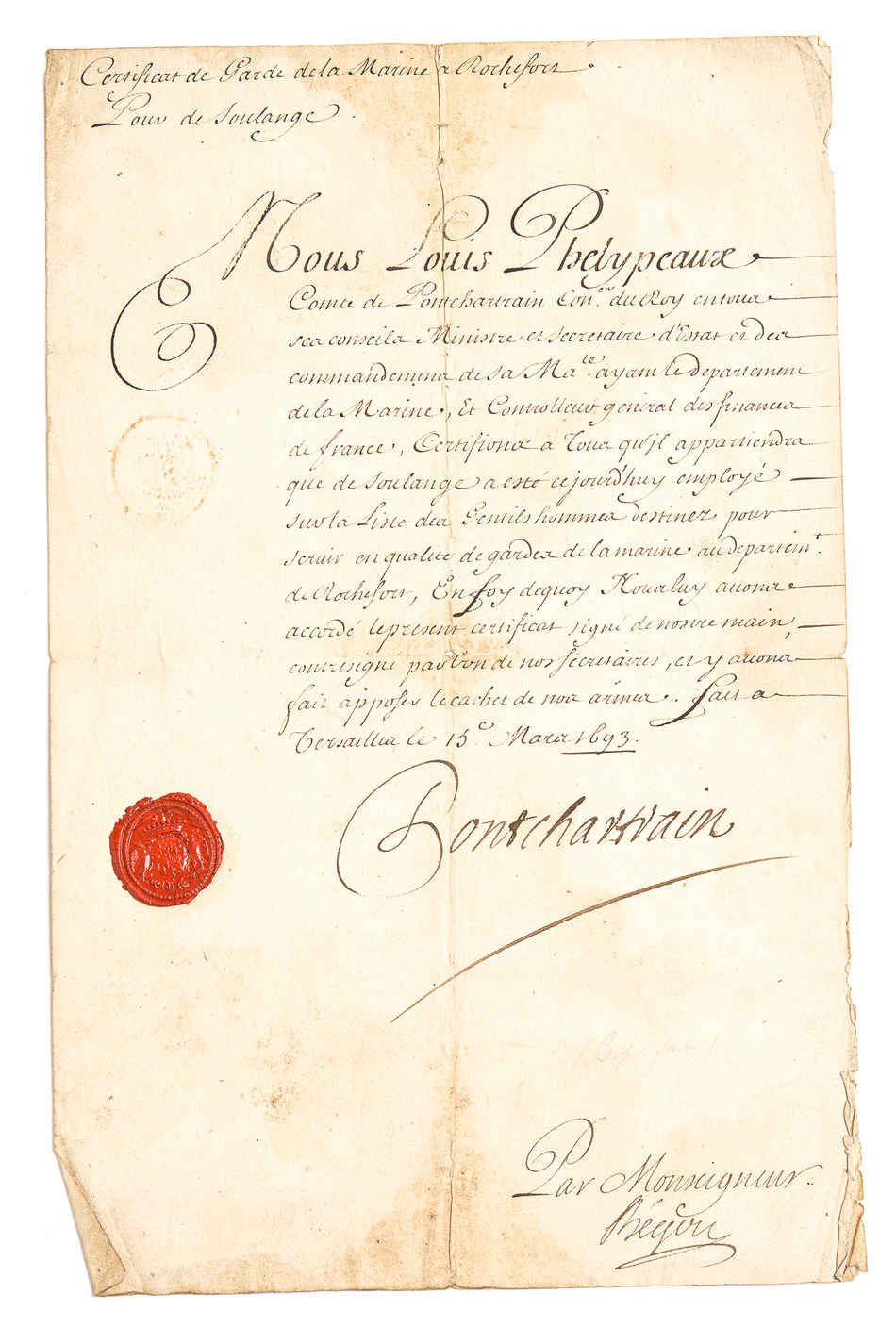 Letters from Louis XIV & Louis XV - Newly Discovered Important Canadian Historical Documents to be sold at A.H. Wilkens Auctions & Appraisals in Toronto (CNW Group/A.H. Wilkens)
