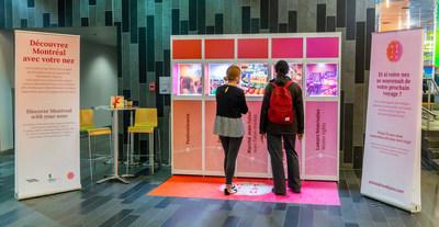 Stimulation Déjà Vu a créé un kiosque permettant aux congressistes de visiter Montréal à l'aide de cinq créations olfactives qui représentent la métropole. (Groupe CNW/Palais des congrès de Montréal)