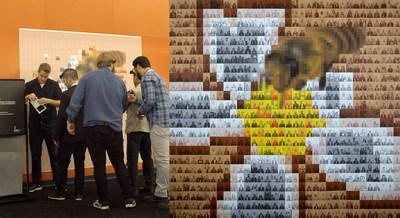 Lors du congrès Apimondia 2019, MASSIVart a développé une mosaïque artistique aux couleurs de l'événement qui s'est dévoilée grâce aux photos prises par les participants. (Groupe CNW/Palais des congrès de Montréal)