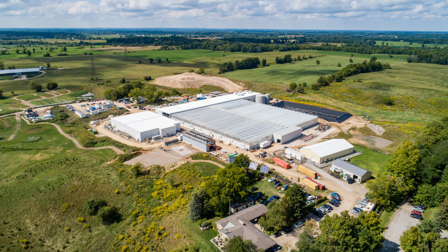 Aerial view of TGOD's Hamilton site. (CNW Group/The Green Organic Dutchman Holdings Ltd.)