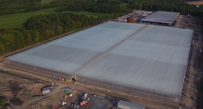Aerial view of TGOD's Valleyfield site, the world's largest certified organic cannabis cultivation facility. (CNW Group/The Green Organic Dutchman Holdings Ltd.)
