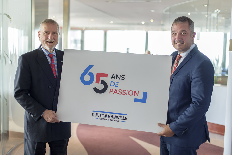 Lawyers Jean-Jacques Rainville and Yanick Tanguay, President and Vice-President of the Board respectively, proudly present the logo specifically designed for the cabinet's 65th anniversary. (CNW Group/Dunton Rainville S.E.N.C.R.L.)