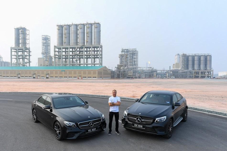 Valtteri and the Mercedes : 'Mercedes-AMG PETRONAS Motorsport driver, Valtteri Bottas, visits PETRONAS' multi-billion dollar megaproject, Pengerang Integrated Complex (PIC) in Johor, Malaysia.'