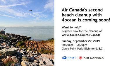 Public Invited to Join in 4ocean Canadian Shoreline Clean-up Powered by Air Canada and Say #bonvoyageplastic (CNW Group/Air Canada)
