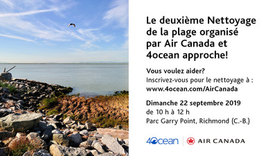 Invitation au public à participer au nettoyage d'une plage canadienne organisé par 4ocean et commandité par Air Canada et #BonVoyagePlastique (Groupe CNW/Air Canada)