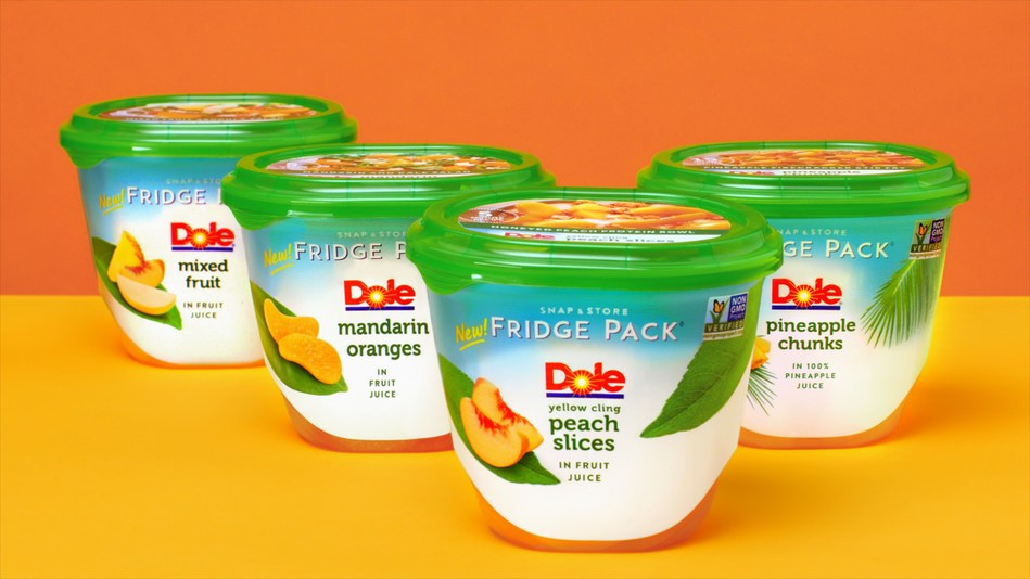 Dole elevates everyday meals with new Dole Fridge Packs - easy to open, resealable, stackable clear packaging. Available nationally in 4 varieties: Pineapple Chunks, Mandarin Oranges, Peach Slices and Mixed Fruit.