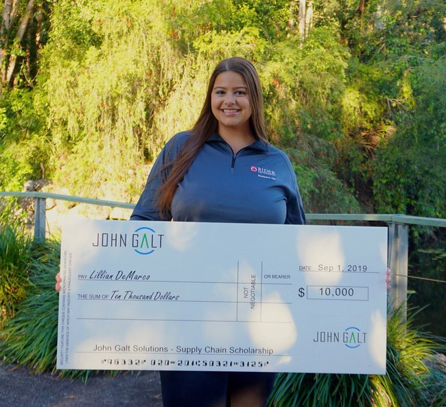 Lillian DeMarco, recipient of the Future Supply Chain Leaders Higher Education Scholarship from John Galt Solutions, September 2019