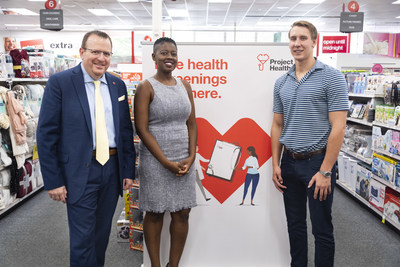 David Sanford, Regional Director for CVS Health; Dr. Angelica Geter Fugerson, Chief Health Officer for the City of Atlanta; and world champion swimmer and three-time NCAA Champion at the University of Georgia Chase Kalisz attend a Project Health event. Thursday's event was one of 48 free health screenings taking place in the Atlanta area between now and the end of the year. Project Health has delivered more than $7 million worth of free health services locally since 2010.